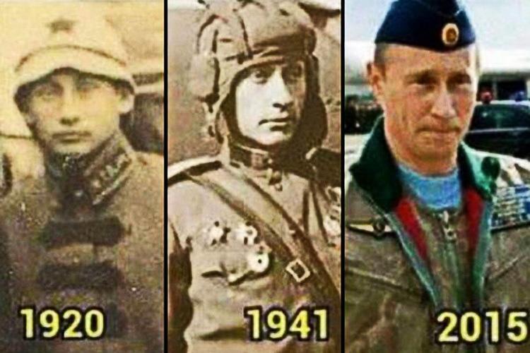 Владимир Путин в разные года 1920 год, 1941 год, 2015 год